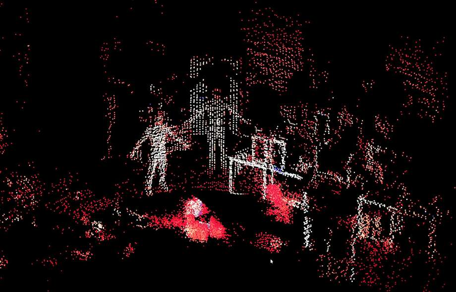 A monitor shows the digital pattern generated by the lidar sensor created by Ouster in San Francisco. Photo: Carlos Avila Gonzalez, The Chronicle