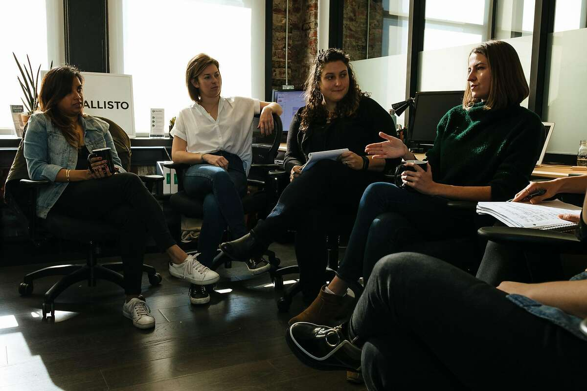 Founder & CEO, Jess Ladd, right, talks about the expectation of 2018 year as Callisto holds their weekly team meeting at their office in San Francisco, Calif. Thursday, December 14, 2017.