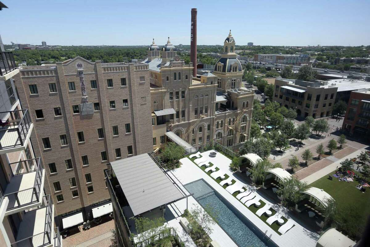 The 5th floor pool is seen May 24, 2017 at The Cellars luxury apartments in the Pearl. Rents can run as hight as $13,975 monthly, yet the project got $3.7 million in city incentives.
