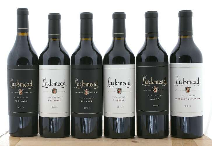 Left to right--2013 Larkmead The Lark, 2014 Larkmead LMV Salon, 2014 Larkmead Dr. Olmo, 2014 Larkmead Firebelle, 2014 Larkmead Solari, and 2014 Larkmead Cabernet Sauvignon  on Tuesday, December 19, 2017, in San Francisco, Ca.