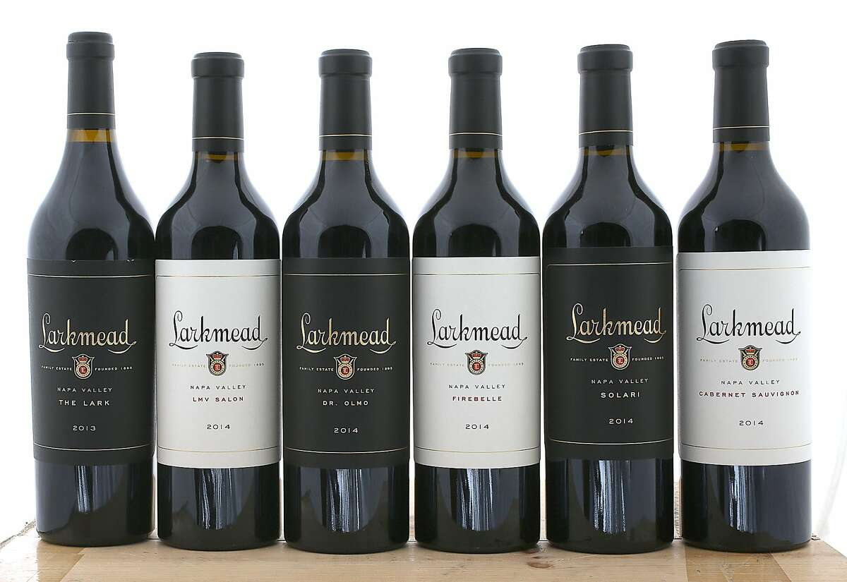 Larkmead Vineyards Cabernet Sauvignons, left to right: 2013 The Lark, 2014 LMV Salon, 2014 Dr. Olmo, 2014 Firebelle, 2014 Solari and 2014 Napa Valley Cabernet Sauvignon.