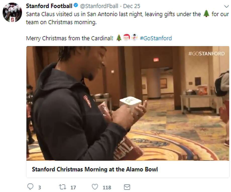 @StanfordFootball: Santa Claus visited us in San Antonio last night, leaving gifts under the for our team on Christmas morning.  Merry Christmas from the Cardinal!#GoStanford Photo: Twitter.com
