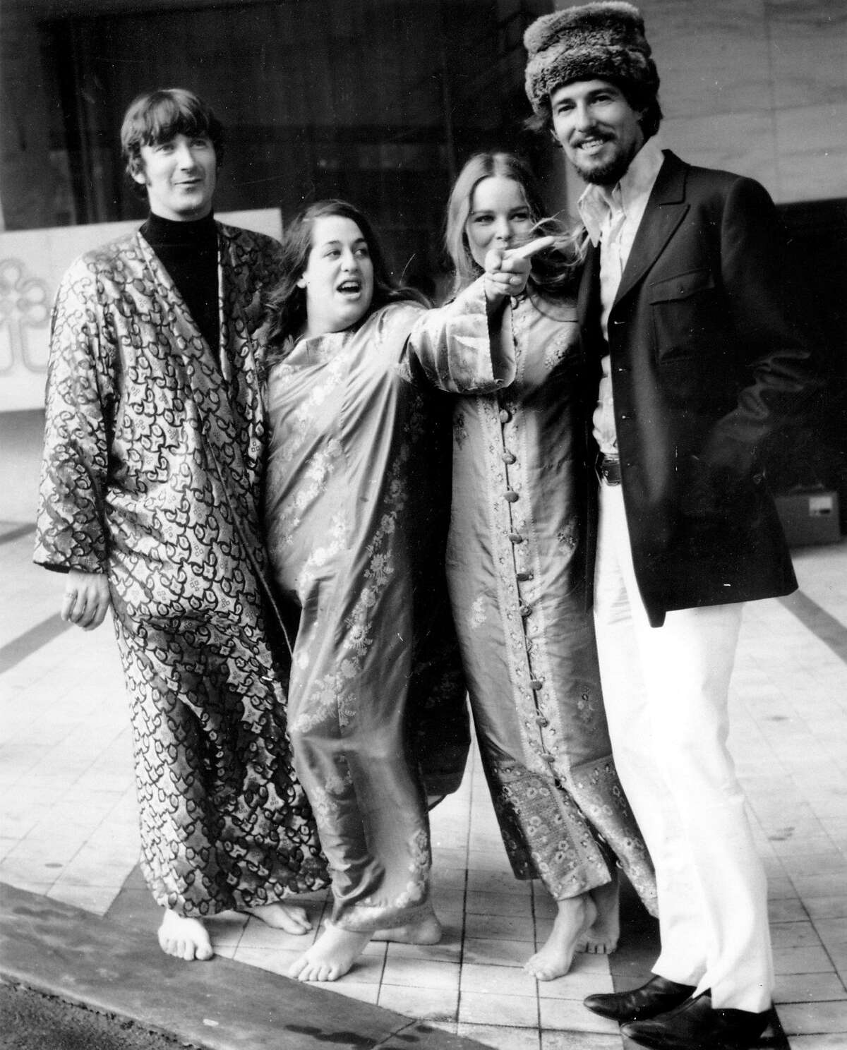**FILE**The Mamas and the Papas pose outside a hotel after a news conference in London, England on Oct. 6, 1967. The four members are, left to right, Denny Doherty, Cass Elliot, Michele and John Phillips. His sister Frances Arnold said the singer-songwriter died at his home in Mississauga, a city just west of Toronto, on Friday, Jan. 19, 2007,after a short illness. He was 66 (AP Photo/Peter Kemp)