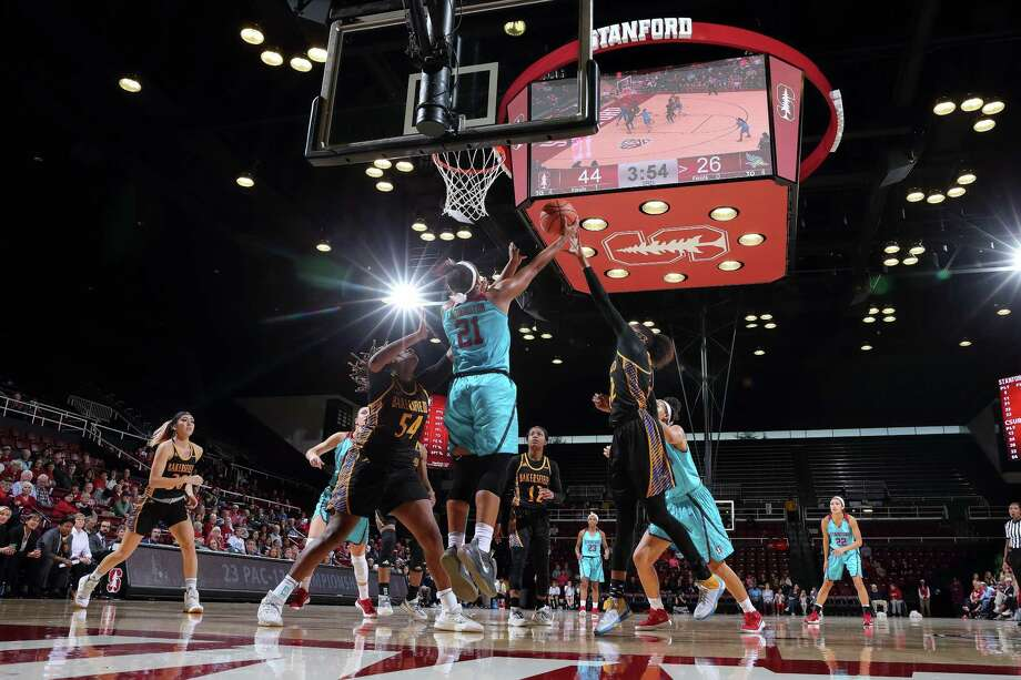 Stanford Women's Basketball plays CSU Bakersfield at Maples Pavilion in Stanford on November 19, 2017. Stanford wore turquoise uniforms to celebrate Native American Heritage Month. Photo: Bob Drebin / Bob Drebin / Isiphotos.com / Bob Drebin / isiphotos.com