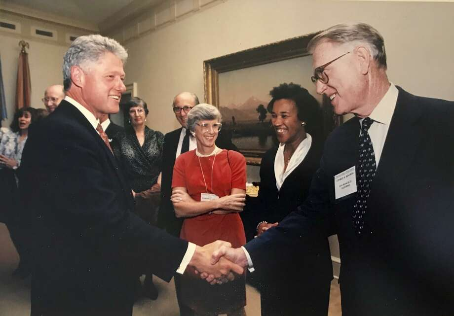 Judge Charles Renfrew with President Bill Clinton in 1995. Photo: Courtesy Of Keker, Van Nest &Peters LLP / Courtesy Of Keker, Van Nest &Peters LLP/