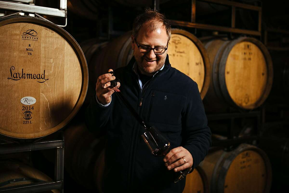Dan Petroski tests the wines at Larkmead Vineyards in Calistoga on December 20, 2017.