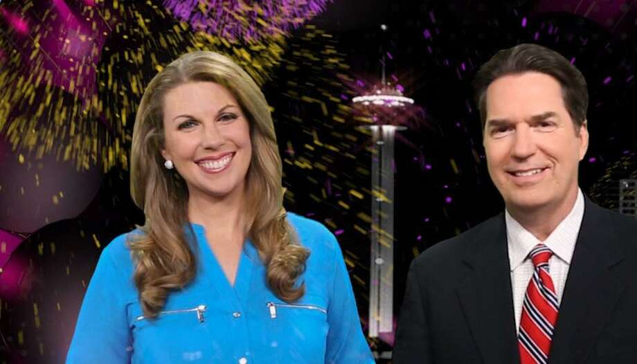 Anchors Myra Arthur and Steve Spriester, seen here hosting KSAT's live New Year's Eve Tricentennial S.A. celebration, have been paired at 10 p.m. during Isis Romero's maternity leave. Photo: KSAT