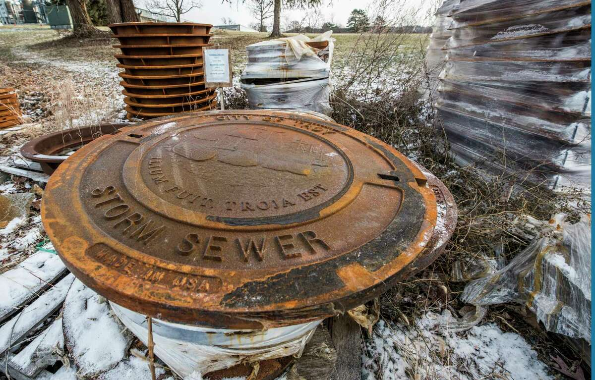 Manhole covers and frames ready for installation sit in the yard at the Troy Water Plant Friday Dec 15, 2017 in Troy, N.Y. (Skip Dickstein/ Times Union)