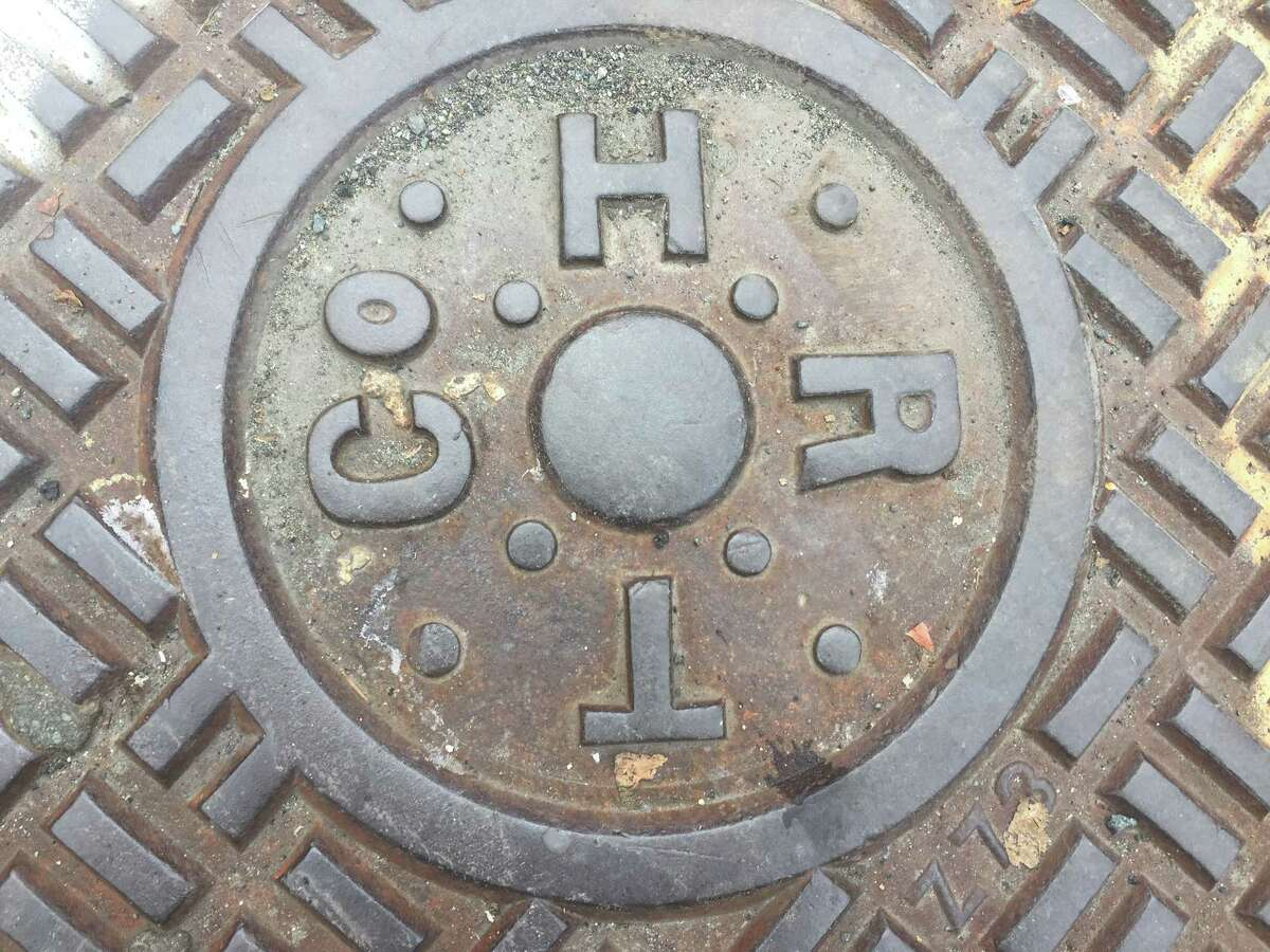 Hudson Tiger Telephone Co. manhole cover. (Kenneth Crowe II/Times Union)