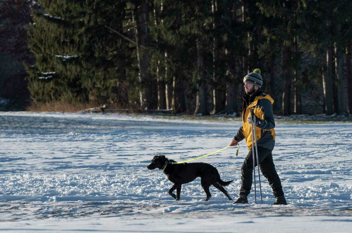 Cross country skier David Kroopnick takes time to enjoy the snowwith his puppy Wile.e at the Capital Hills at Albany Golf Course Tuesday Dec 26, 2017 in Albany, N.Y. (Skip Dickstein/ Times Union)