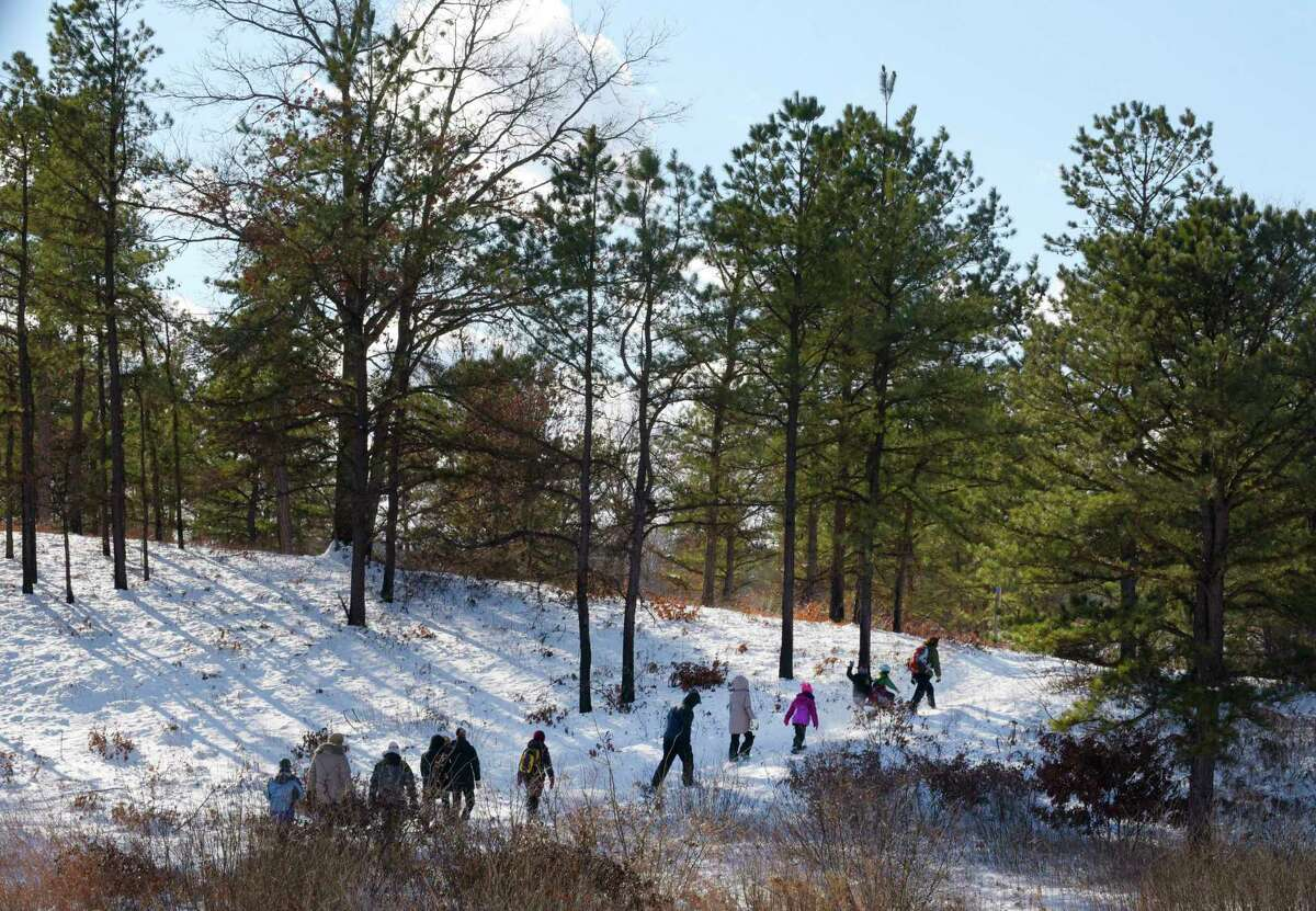 Adults and children make their way along the trail during the 9th Annual Cookie Burner Stroll in the Albany Pine Bush on Tuesday, Dec. 26, 2017, in Albany, N.Y. On Wednesday at 10:00am, the Discovery Center at the Pine Bush will hold their Scoop on Poop event, to learn about animal scat and what it can tell you about the animal. Participants will also use Play-Doh to make animal scat. Starting on Wednesday at 1:00pm and running through Friday, for children 10 years of age and older, the center will hold their Karner Kids Film Festival where children will work on ideas and learn to make their own film about the Pine Bush. Registration is required for the film festival. (Paul Buckowski / Times Union)
