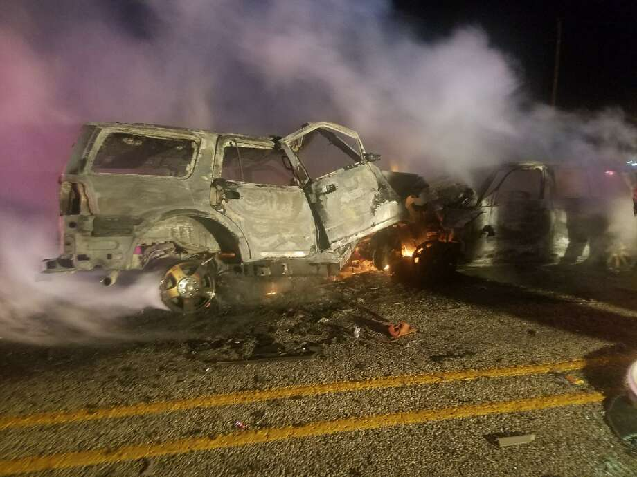 Three died early Tuesday after their vehicles collided near the Maverick and Zavala county lines Dec. 25, 2017. Photo: Courtesy Maverick County