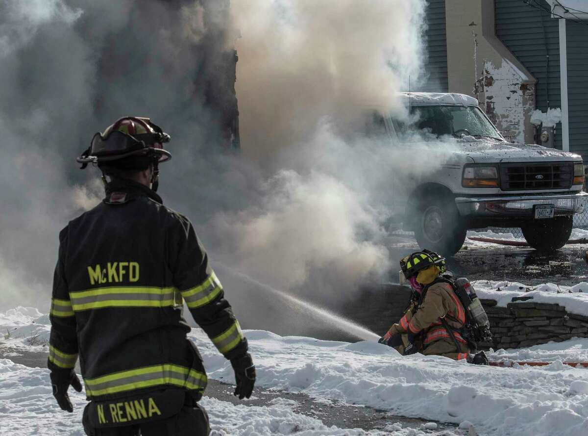 A mutual aid fire guts a residence at 490 Church Road on Tuesday, Dec 26, 2017, in Guilderland, N.Y. (Skip Dickstein/ Times Union)
