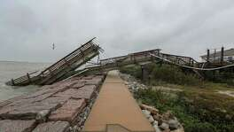 """Hurricane Harvey decimated UT's Marine Science Institute research pier in Port Aransas and displaced many of its faculty and students. Institute leaders are still assessing the losses, but the cost to rebuild will be in the """"many tens of millions of dollars,"""" its director says."""