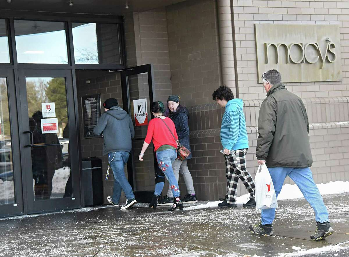 Shoppers enter Macy's at Colonie Center on Tuesday, Dec. 26, 2017 in Colonie, N.Y. After-Christmas sales and returns make this a busy shopping day. (Lori Van Buren / Times Union)