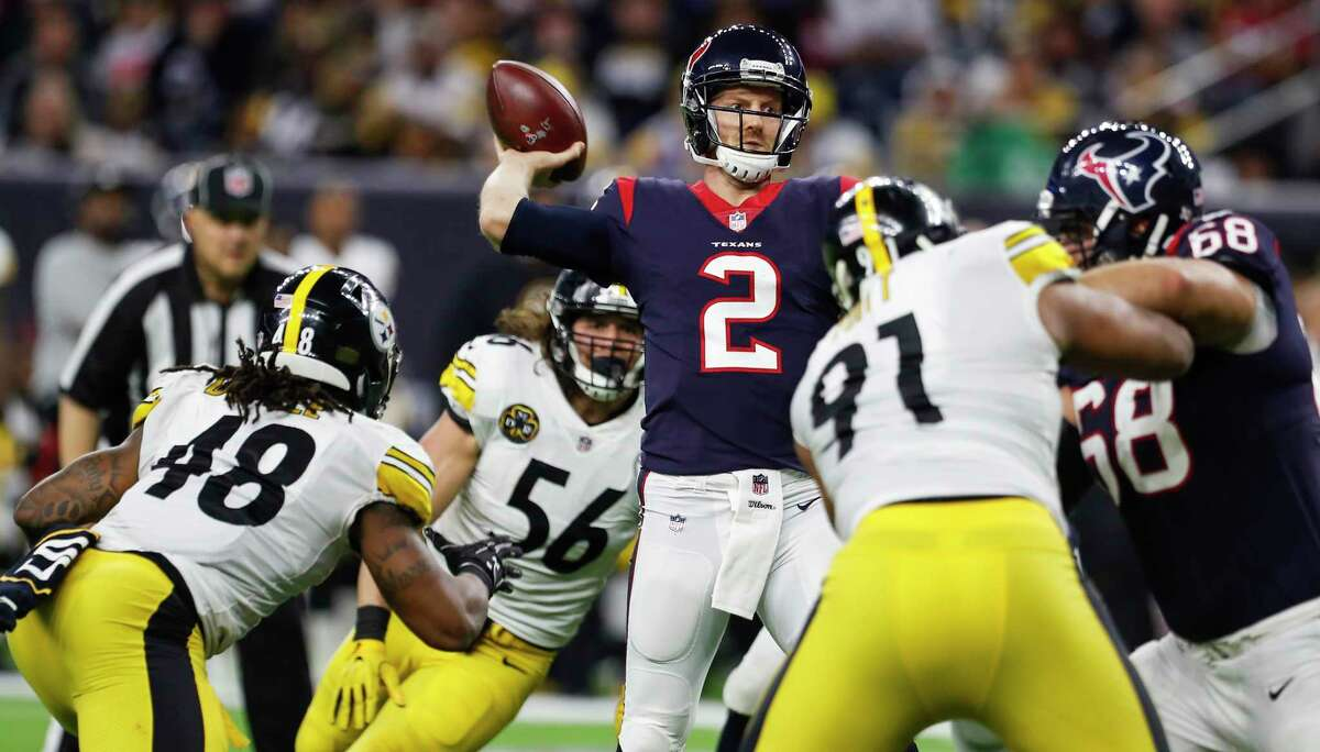 TEXANS' THREE KEYS TO VICTORY 1. The passing game, weakened by the loss of DeAndre Hopkins, has to be better than the Pittsburgh game. The Texans completed eight passes.