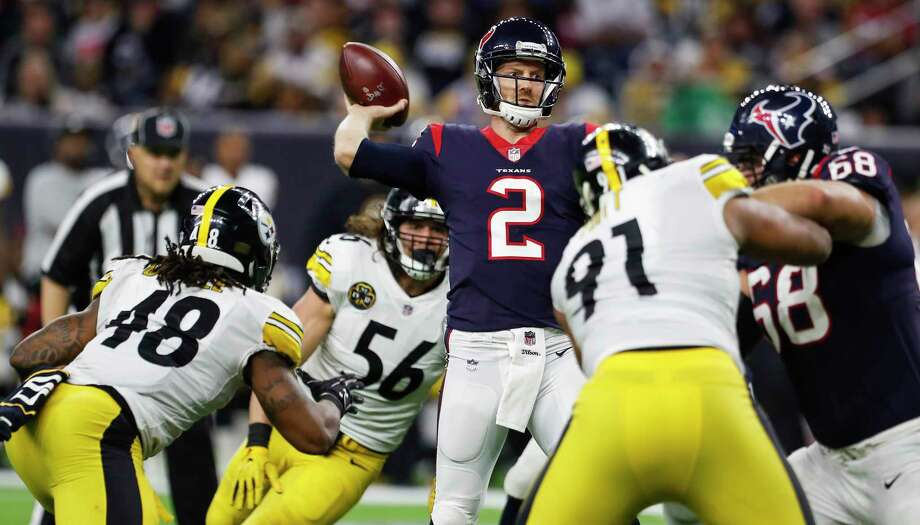TEXANS' THREE KEYS TO VICTORY1. The passing game, weakened by the loss of DeAndre Hopkins, has to be better than the Pittsburgh game. The Texans completed eight passes. Photo: Brett Coomer, Staff / © 2017 Houston Chronicle