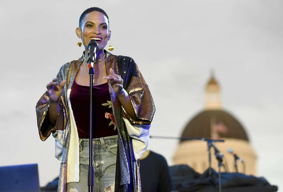 SACRAMENTO, CA - AUGUST 21: Goapele performs during the Imagine Justice concert at Capitol Mall on August 21, 2017 in Sacramento, California.