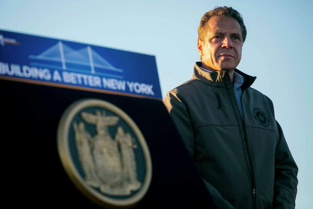FILE -- New York Gov. Andrew Cuomo at a public event that included the demolition of old spans of the Kosciuszko Bridge, in New York, Oct. 1, 2017. The New York region is currently home to the most concentrated glut of nationally ambitious Democratic politicians in the country. (Sam Hodgson/The New York Times) ORG XMIT: XNYT