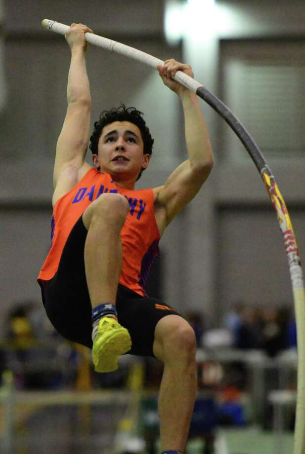 Danbury's Nathaniel Llanos competes in the pole vault event during CIAC Class LL Indoor Track and Field Championships in New Haven, Conn. on Thursday Feb. 11, 2016. Photo: Christian Abraham / Hearst Connecticut Media / Connecticut Post