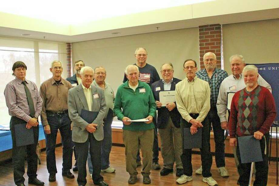 Recently honored veterans, from left: Front row: Robert Hodges, Tom Billingsley, Jeff Kohtz and Ken Pegavskie. Second row: Ray Barta, Warren Frank, Fred Honerkamp, Roger Bishop and Dan Myers. Back row: Charles Smith and Velsor 'Jolly' Richardsen. Not shown: Ron Verhelle (Photo provided)