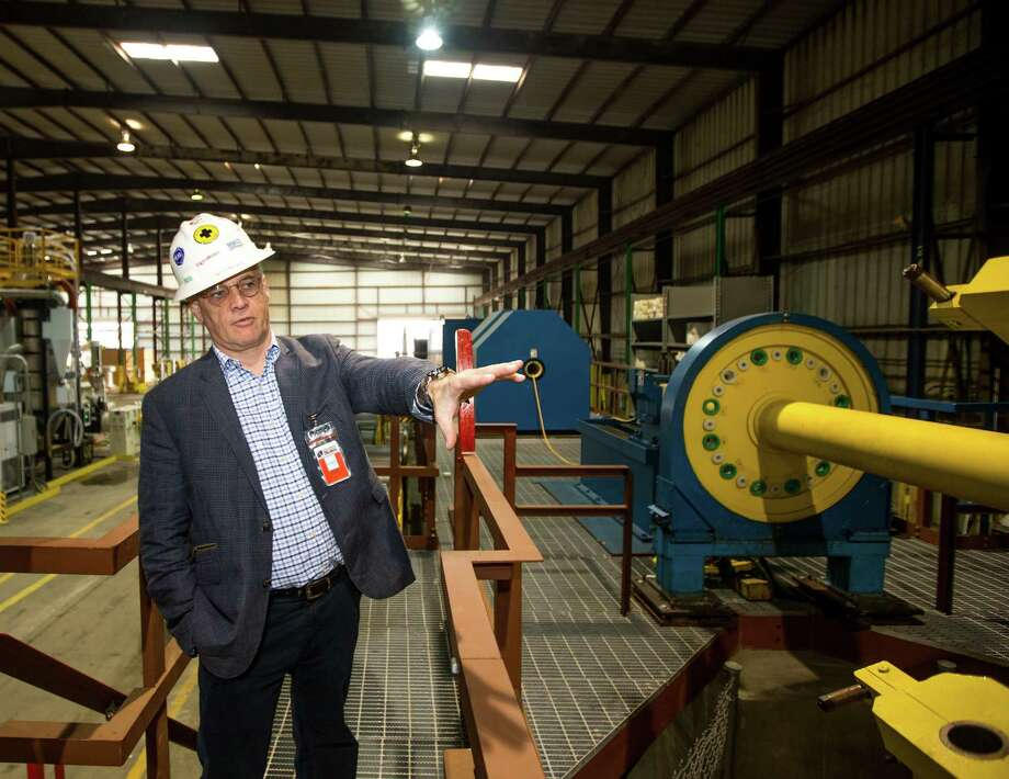 CEO Robert (Bob) Conners talks about the process in putting the umbilicals together using the umbilical machine at Umbilicals International, Tuesday, December 19, 2017, in Houston. (Juan DeLeon/for the Houston Chronicle) Photo: Juan DeLeon / Houston Chronicle