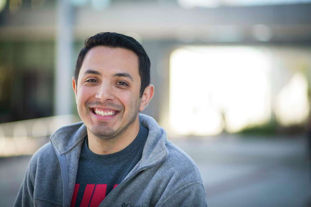Carlos Cazares, who is graduating this month from the University of Houston with a degree in engineering, has been involved with Achievement Initiative for Minority Males, or AIMM, a program through the university's Center for Diversity and Inclusion, Tuesday, Dec. 12, 2017, in Houston.
