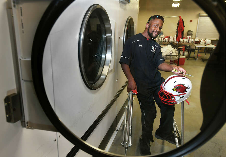Diagnosed with cerebral palsy, Jamarcus Corks recently graduated from Lamar and said he hopes to become a professional equipment manager. Corks worked for Lamar athletics during his time as a student.  Photo taken Tuesday, December 18, 2017 Guiseppe Barranco/The Enterprise Photo: Guiseppe Barranco, Photo Editor / Guiseppe Barranco ©