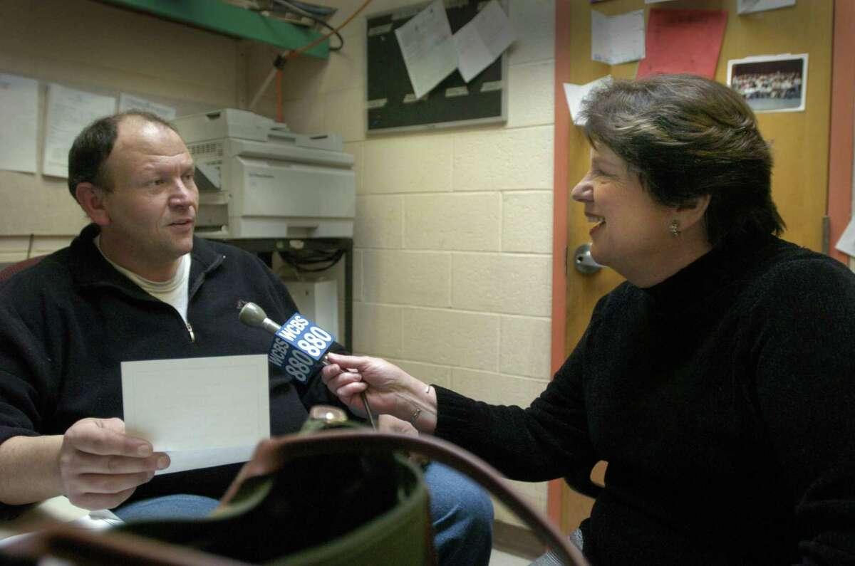 Veteran WCBS 880 reporter Fran Schneidau interviews Roxbury School custodian John Cleri about becoming a teacher. Scneidau profiles Cleri for the AM radio station's series