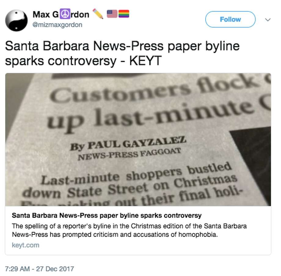 The spelling of a reporter's byline in the Christmas edition of the Santa Barbara News-Press was changed to reflect an offensive slur. Photo: Twitter Screen Grab