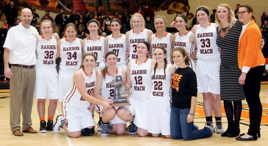 """10. Harbor Beach girls break throughFor the first time since 2010, the Harbor Beach girls basketball called itself district champions in early March.The Pirates defeated EPBP 48-17 on their home floor, for the title.""""It feels really good, because we've had some close calls in the past,"""" said Harbor Beach coach Jim Tamlyn. Photo: Tribune File Photo"""
