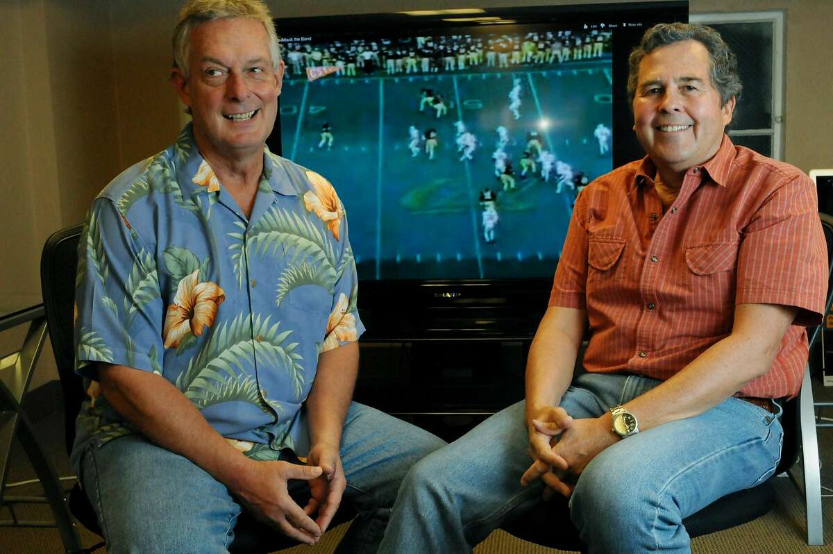 """Announcer Pete Liebengood, left, and Director Niels Melo, are photographed Wednesday, Oct. 3, 2012, in preparation for the 30th anniversary of """"The Play"""", a kickoff return during a college football game between the UC Berkeley Bears and the Stanford Cardinals in 1982."""
