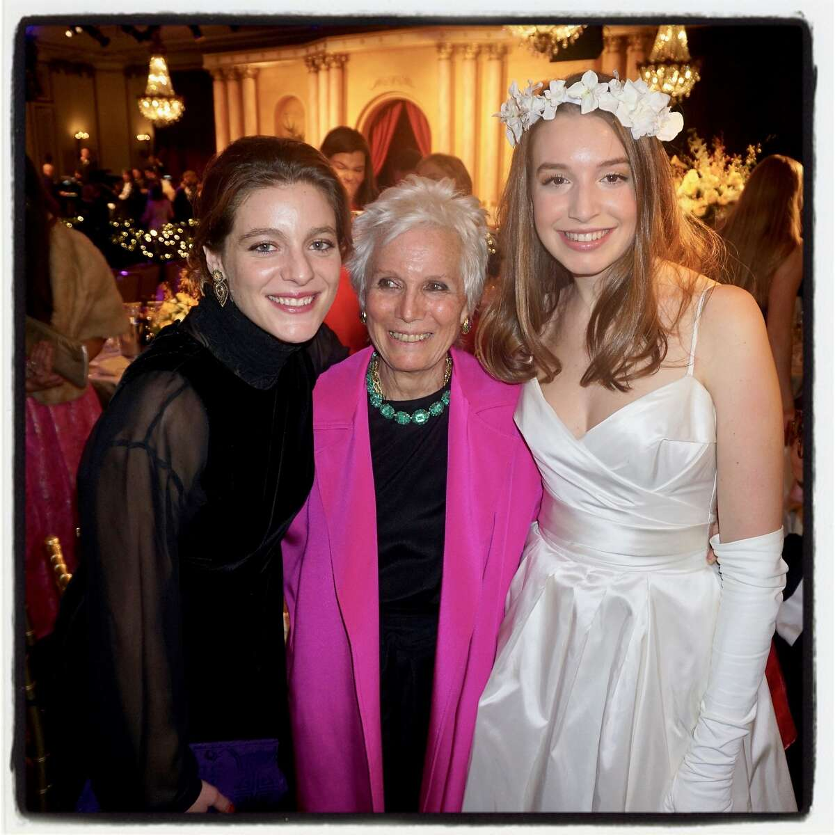 Former Cotillion debutantes Justine Thieriot (left) and her mom, Angie Thieriot, with debutante India Thieriot at the 76th Cotillion. Dec. 22, 2013.