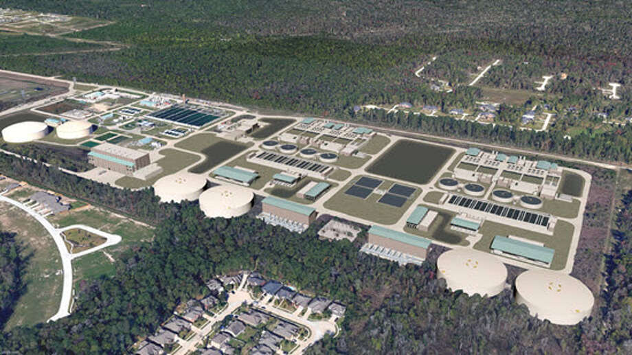An artist rendering shows the expanded Northeast Water Purification Plant near Lake Houston expected to be completed in 2024. Photo: Courtesy Of Greaterhoustonwater.com