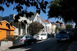 Vehicles parked along Montezuma St. in the Bernal Heights neighborhood of San Francisco, Ca. on Thurs. Sept. 28, 2017. SFMTA is considering making the Dogpatch and Bernal Heights neighborhoods pilots areas for a new residential parking permit plan.
