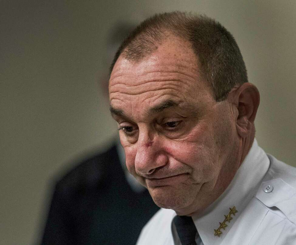 Troy Police Chief John Tedesco, who will retire from the job the second week in January, shows the effects of having seen the scene of a quadruple murder on Wednesday, Dec 27, 2017, as he conducts a press conference on the subject at City Hall in Troy, N.Y. (Skip Dickstein/ Times Union)
