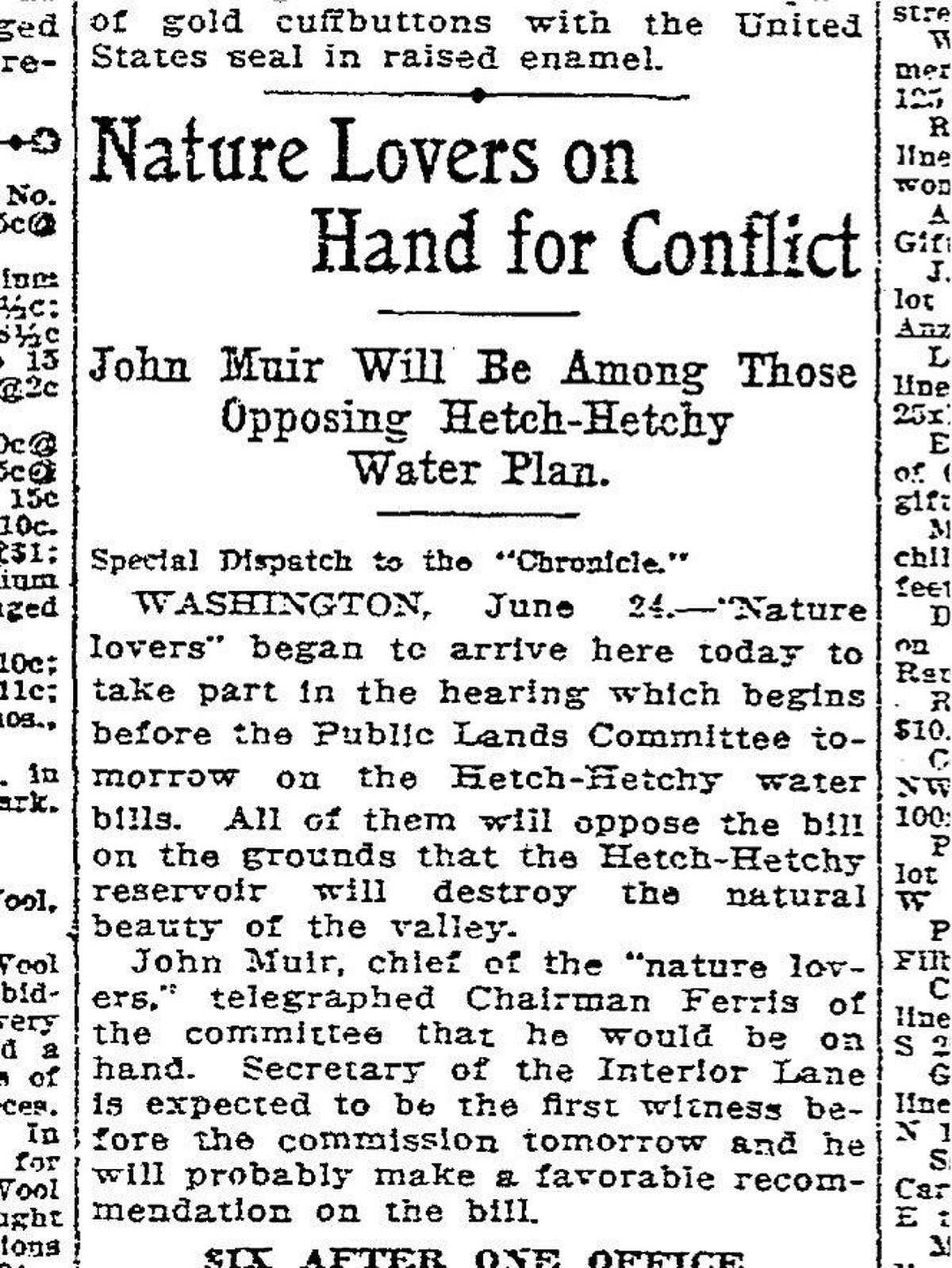 June 25,, 1913 article on the John Muir and the Sierra Club fighting to prevent the creation of Hetch Hetchy Reservoir on National Park land