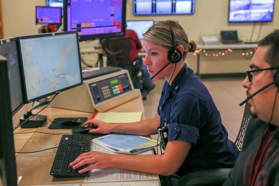 December 18, 2017:   Operations Specialist Joyce White learns the intricacies of communicating with vessels under the supervision of Wesley Felix at the US Coast Guard Sector Houston-Galveston Vessel Traffic Service in Houston, Texas.faccumsandre conullaDecember 18, 2017:   Operations Specialist Joyce White learns the intricacies of communicating with vessels under the supervision of Wesley Felix at the US Coast Guard Sector Houston-Galveston Vessel Traffic Service in Houston, Texas.faccumsandre conulla Photo: Leslie Plaza Johnson, Freelancer / Freelance