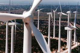 Sleek white wind turbines, 25 stories tall, rise from the plains of West Texas in Big Spring. Texas is one of the windiest states in the nation and the Panhandle and West Texas are the state's windiest regions.