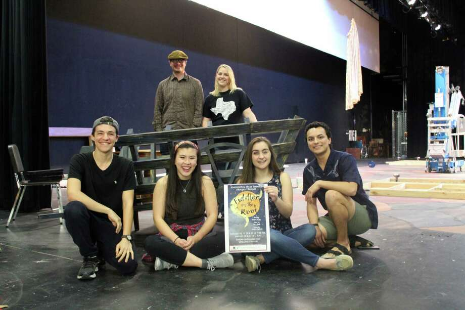 """Theater students and directors from Kingwood High School and Kingwood Park High School pose for a photo onstage where they will perform their collaborative production of """"Fiddler on the Roof"""" in January. From left to right, top row:Matthew C. Logan, Kingwood Director; Abbey Fera, Kingwood Park Director. Bottom row: Devan Karp, Kingwood High School senior playing Russian Soloist and Tevye Understudy; Jade Chang, Kingwood High School senior and Student Technical Director; Gracie Dickinson, Kingwood Park senior and Publicity; Seth Tarango, Kingwood Park senior playing Motel. Photo: Melanie Feuk"""