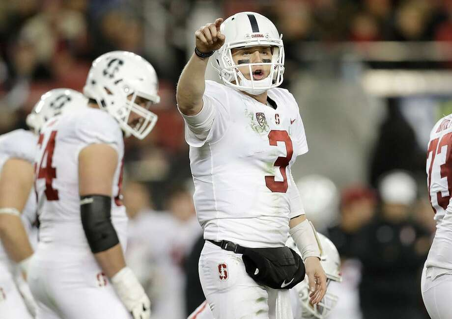 Stanford quarterback K.J. Costello signals against USC during the Pac-12 Conference championship game in Santa Clara, Calif. on Dec. 1, 2017. Photo: Marcio Jose Sanchez /AP Photo