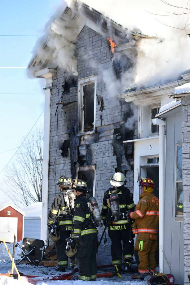 A fire at 103 Old Route 7 in Pittstown, Rensselaer County, on Wednesday closed the road for several hours. Photo: Tom Heffernan Sr. / Special To The Times Union