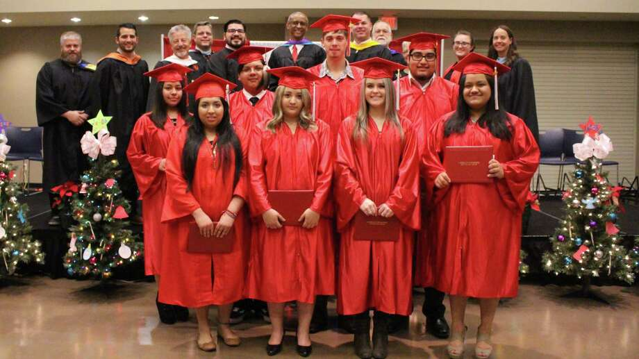 A group of Cleveland ISD students who attend Douglass Learning Academy finished up their high school degrees in the days just prior to Christmas. They were celebrated at a graduation ceremony held for DLA at the Cleveland Civic Center. The graduates pictured are Rosalinda Acuna Martinez, Vanassa Josafina Cuevas, Jacob Ronald Foss, Neida Galvan, Kayla Brooke Long, Weston Riley Roddey, Susana Iris Saucedo, Jacob Andrew Torres and Victor Eduardo Torres. Photo: Submitted