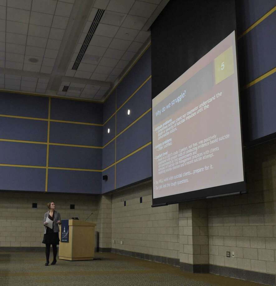 Professor Louisa Foss-Kelly, from Southern Connecticut State University, during her presentation at the monthly clinical mental health workshop held at Western Connecticut State University (WCSU) on Tuesday, December 12, 2017, in Danbury, Conn. Photo: H John Voorhees III / Hearst Connecticut Media / The News-Times