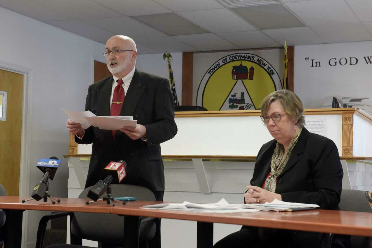 Coeymans Town Supervisor Philip Crandall, left, and former EPA Regional Administrator, Judith Enck, take part in a public meeting to talk about the Lafarge Ravena Cement Plant on Wednesday, Dec. 27, 2017, in Ravena, N.Y. (Paul Buckowski / Times Union)