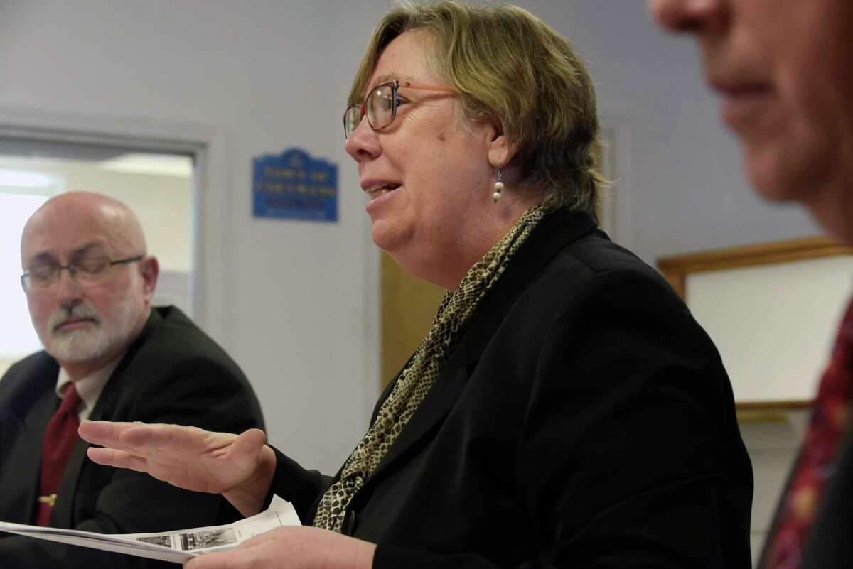 Former EPA Regional Administrator Judith Enck addresses those gathered at Coeymans Town Hall for a public meeting to talk about the Lafarge Ravena Cement Plant on Wednesday, Dec. 27, 2017, in Ravena, N.Y. (Paul Buckowski / Times Union)