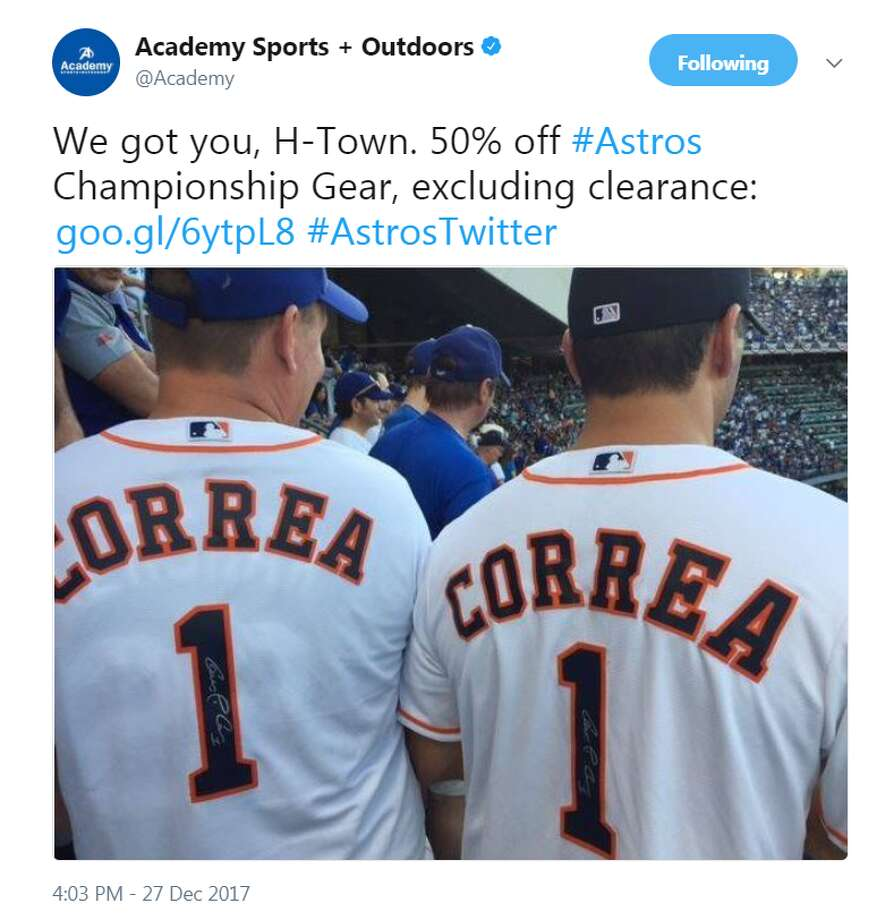 Academy Sports and Outdoors tweeted that it was having a half off sale on Astros championship gear hours after Dick's Sporting Goods said it won't be honoring its online sales of jerseys listed at less than $10.Image source: TwitterScroll ahead to see some of the best images from the Astros' World Series victory.