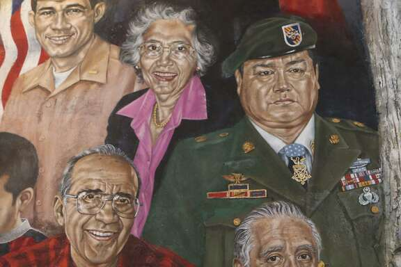 A mural at Mi Tierra restaurant features portraits of prominent people from San Antonio or with ties to San Antonio, South Texas and Mexico. Some of the portraits feature Hispanics with ties to the military such as Master Sergeants Cleto Rodriguez (not pictured) and Roy P. Benavidez (upper right). Also featured is U.S. Rep. Frank Tejeda (upper left), a decorated veteran of the Vietnam War.