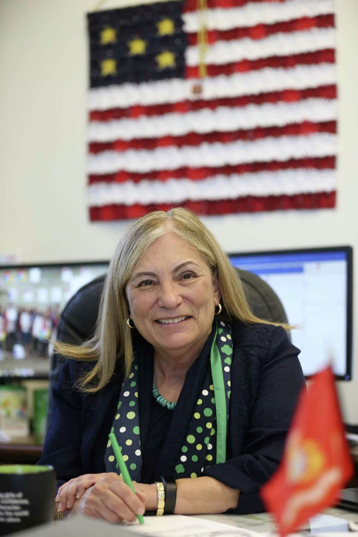 Retired U.S. Marine Maj. Gen. Angie Salinas works at her office at the Girl Scouts of Southwest Texas, Dec. 20. Salinas, was born in Alice, Texas, and was raised in California.