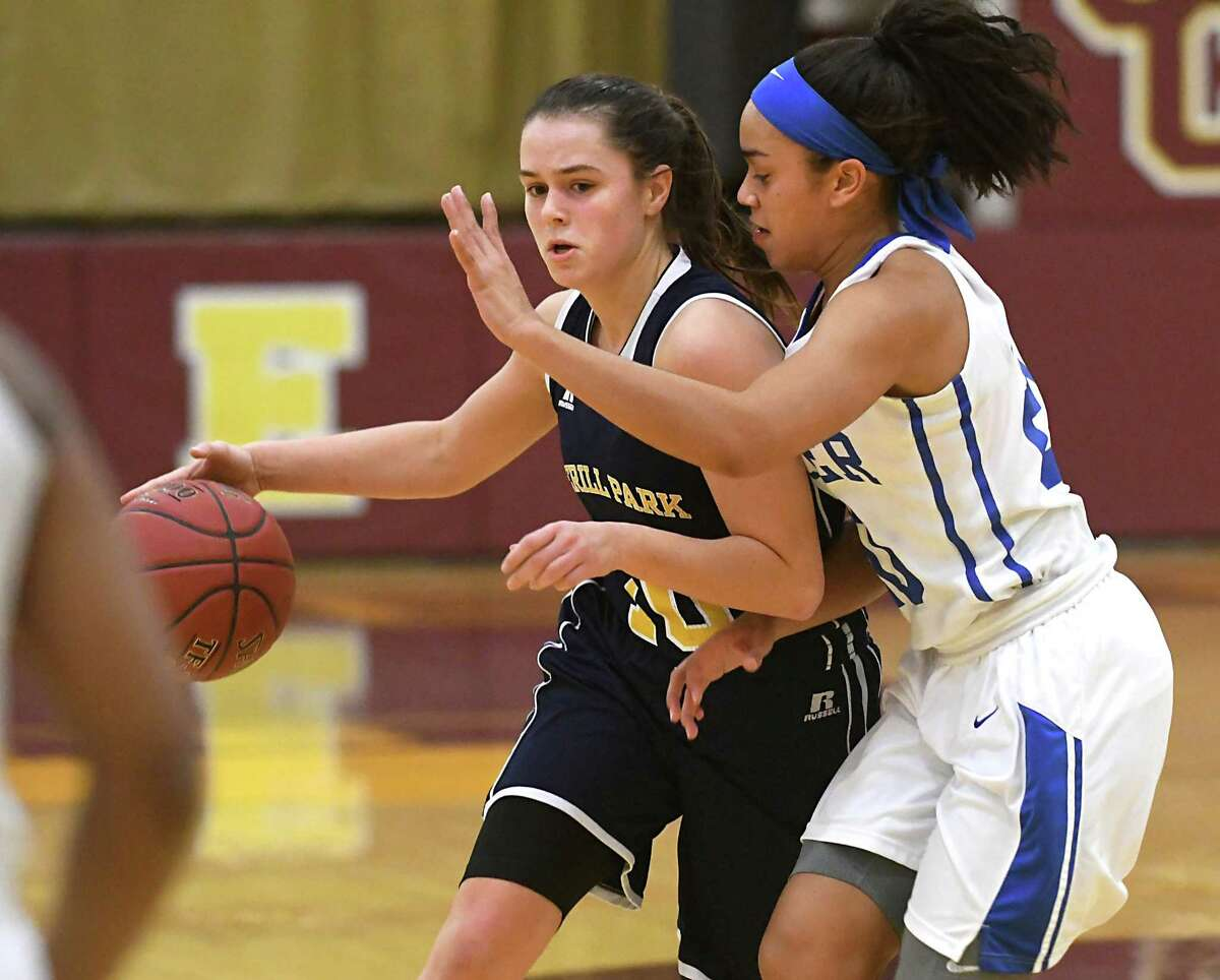Averill Park's Stephanie Jankovic is guarded by Shaker's Shyla Sanford during a basketball game on Wednesday, Dec. 27, 2017 in Colonie, N.Y. (Lori Van Buren / Times Union)